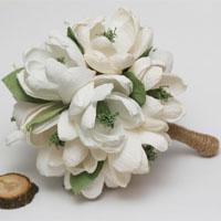 crepe paper, rustic bridal bouquet, rustic wedding, rustic wedding decor, rustic flowers, rustic white flowers, rustic ivory flowers, magnolia, paper magnolias, paper flower, ivory magnolia, paper flowers