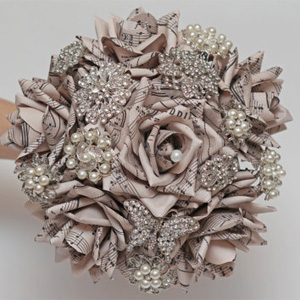 paper flowers, paper flower, brooch bouquet, wedding bouquet, paper flower bouquet, wedding flowers, note paper bouquet, vintage bouquet